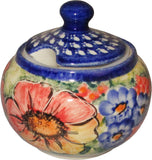 "Boleslawiec Polish Pottery UNIKAT Sugar Bowl ""Flower Field"""