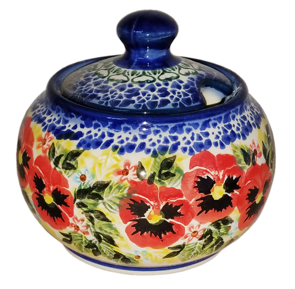 "Boleslawiec Polish Pottery UNIKAT Sugar Bowl ""Summer Day"""