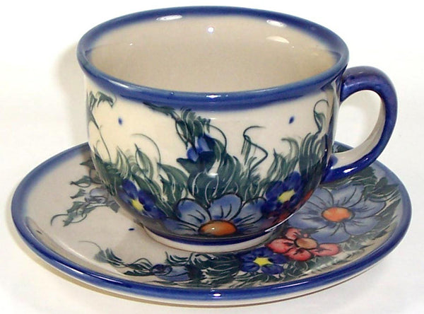 "Boleslawiec Polish Pottery UNIKAT Cup and Saucer ""Wild Field"""