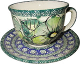 "Boleslawiec Polish Pottery UNIKAT Cup and Saucer ""Green Garden"""