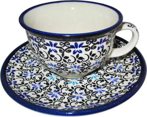 Boleslawiec Polish Pottery Tea Cup and Saucer