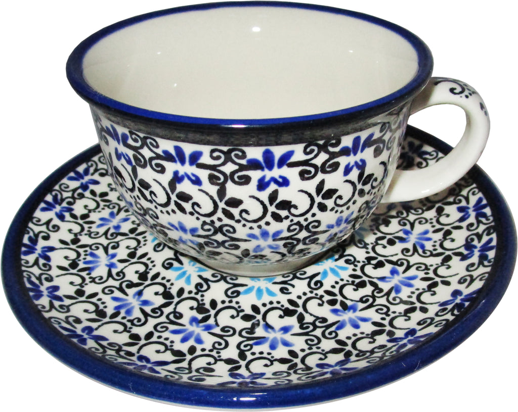 "Boleslawiec Polish Pottery UNIKAT Cup and Saucer ""Martina"""