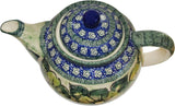 "Boleslawiec Polish Pottery UNIKAT Teapot Coffee Pot ""Green Garden"""