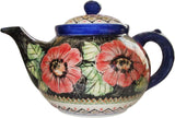 "Boleslawiec Stoneware Polish Pottery UNIKAT Teapot Coffee Pot ""Red Garden"""