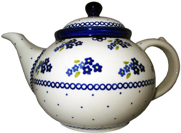 "Boleslawiec Stoneware Polish Pottery UNIKAT Teapot Coffee Pot ""Forget Me Not"""