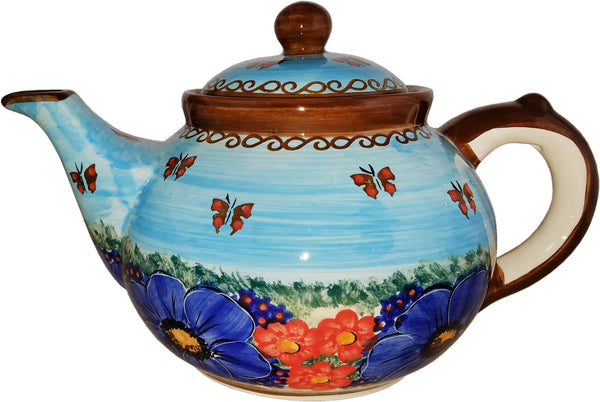 "Boleslawiec Polish Pottery UNIKAT Teapot Coffee Pot ""Blue Sky Meadow"""