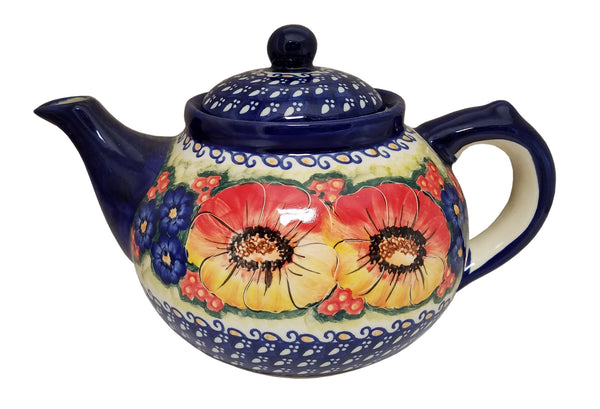 "Boleslawiec Polish Pottery UNIKAT Teapot Coffee Pot ""Flower Field"""