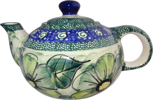 "Boleslawiec Polish Pottery UNIKAT Small 16 oz Teapot Coffee Pot ""Green Garden"""