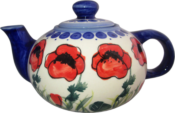 "Boleslawiec Polish Pottery UNIKAT Small 16 oz Teapot Coffee Pot ""Poppy Field"""