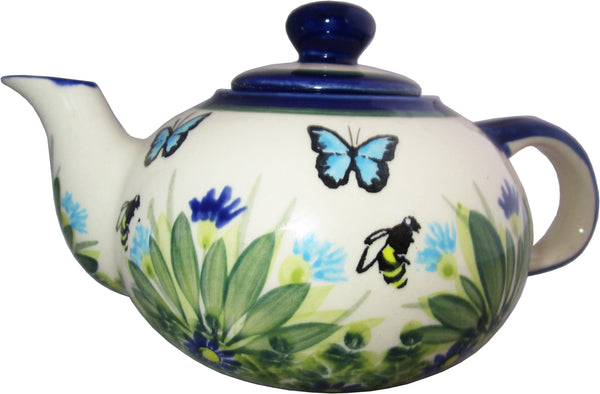 "Boleslawiec Polish Pottery UNIKAT Small 16 oz Teapot Coffee Pot ""Serenity"""