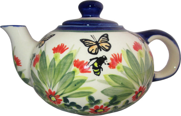 "Boleslawiec Polish Pottery UNIKAT Small 16 oz Teapot Coffee Pot ""Spring"""