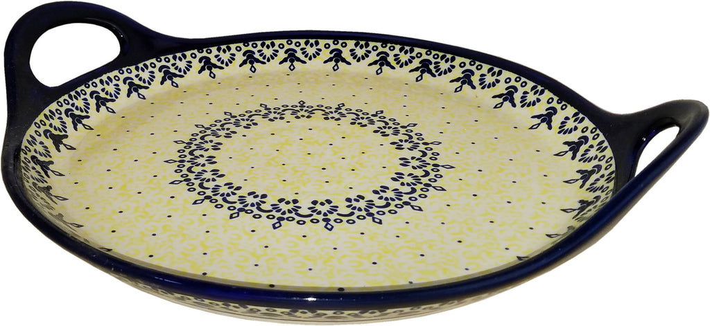"Polish Pottery Round Tray with Handles ""Lace"""