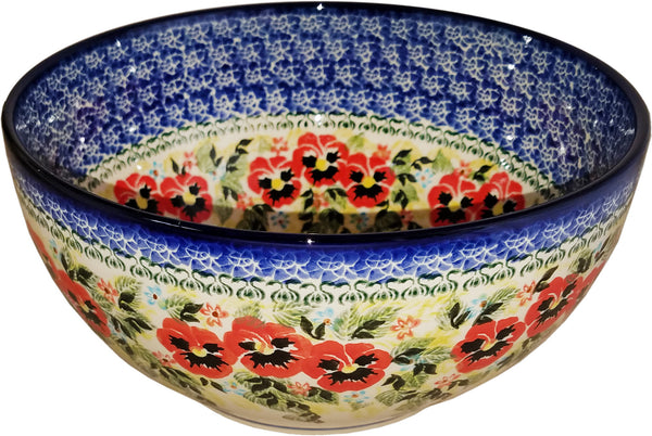 "Boleslawiec Polish Pottery Unikat Large Mixing or Serving Bowl ""Summer Day"""