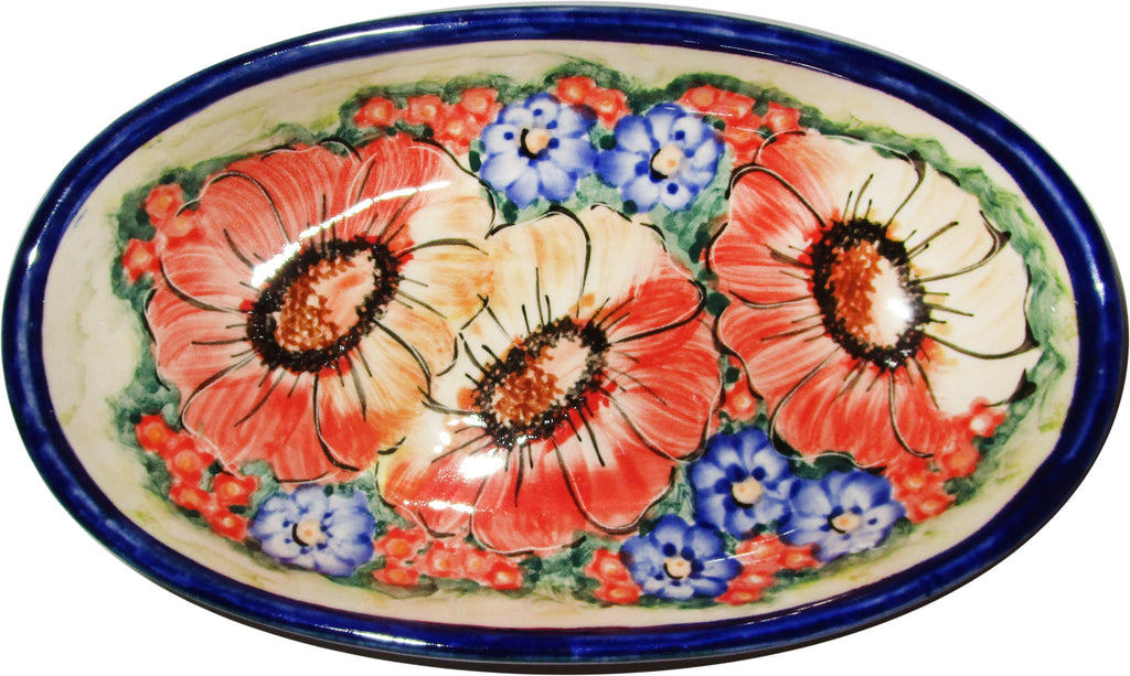 "Boleslawiec Polish Pottery UNIKAT Small Oval Baker ""Flower Field"""