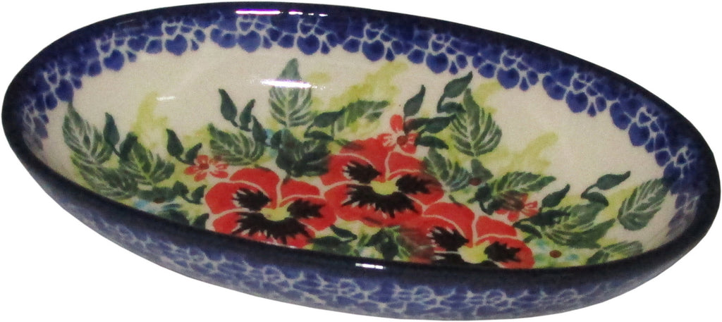 "Boleslawiec Polish Pottery UNIKAT XSmall Oval Baking Dish ""Summer Day"""