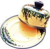 "Boleslawiec Polish Pottery UNIKAT Covered Cheese or Butter Dish ""Wild Field"""