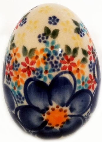 Boleslawiec Polish Pottery UNIKAT Easter Egg Decoration with Blue and yellow Flowers