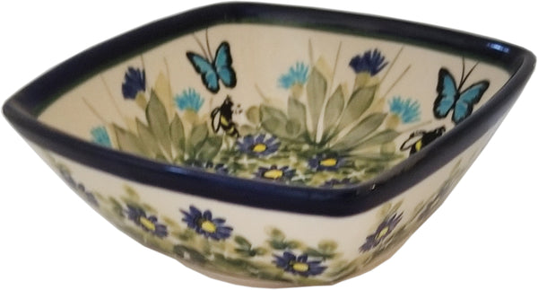 "Boleslawiec Polish Pottery Unikat Serving or Ice Cream Square Bowl ""Serenity"""