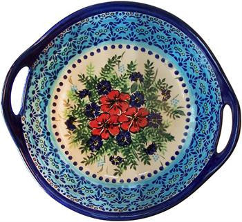 Polish Pottery Large Serving  Bowl with HandlesVeronica