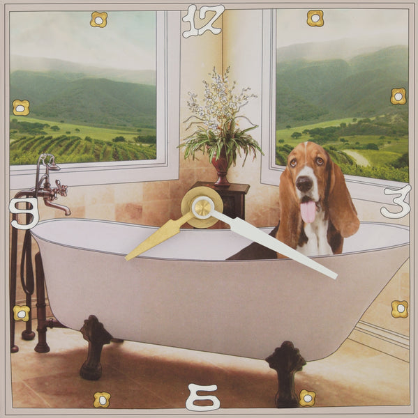 Basset Hound, Collage Clock