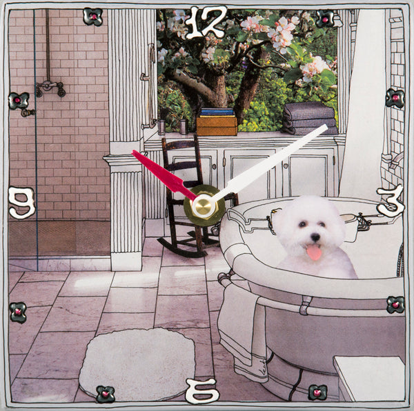 Bichon Frise in the Tub, Collage clock