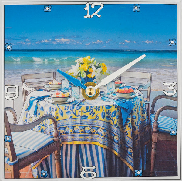 Breakfast By The Sea, Custom Collage Clock