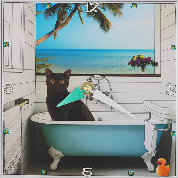 Cat In The Tub, Collage Clock
