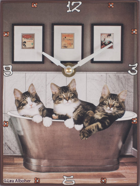 Cats Get Cozy in the Tub, Collage Clock