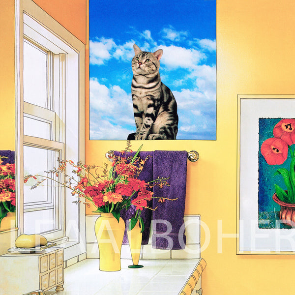 Cat On The Window Sill, metal print