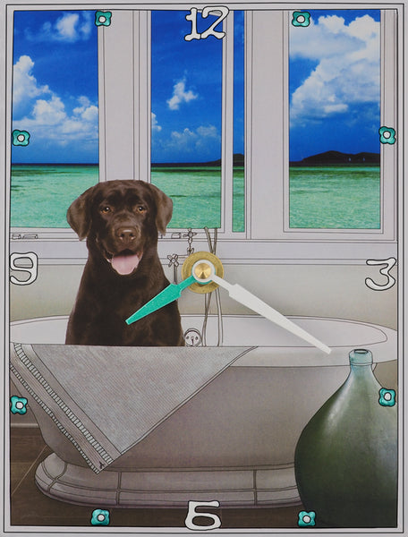 Chocolate Labrador, Collage Clock