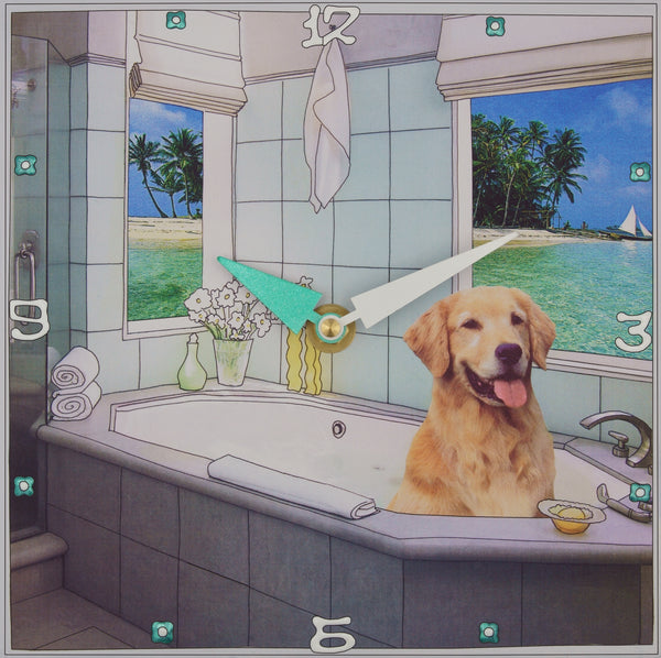 Golden Retriever in the Tub