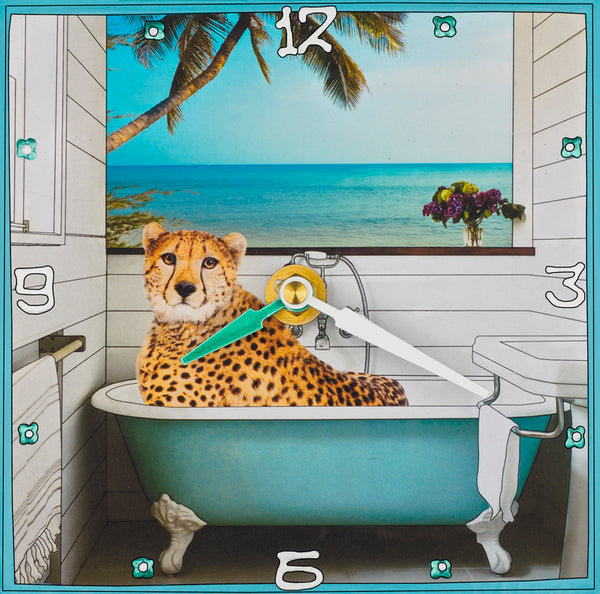 Cheetah In The Tub, Collage Clock