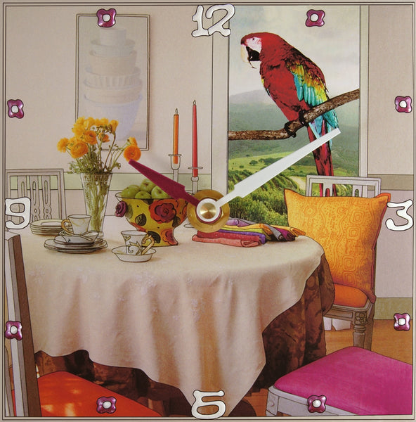 Perching For Dinner Collage Clock