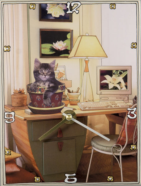 Potted Cat, Collage Clock