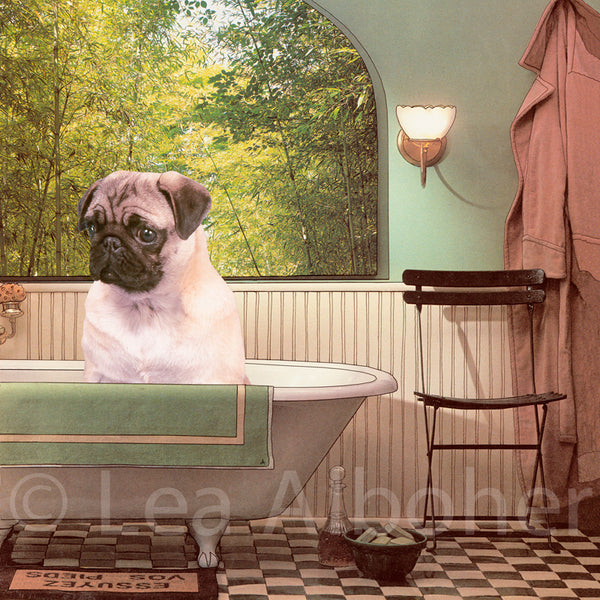 Pug In The Tub Metal Print