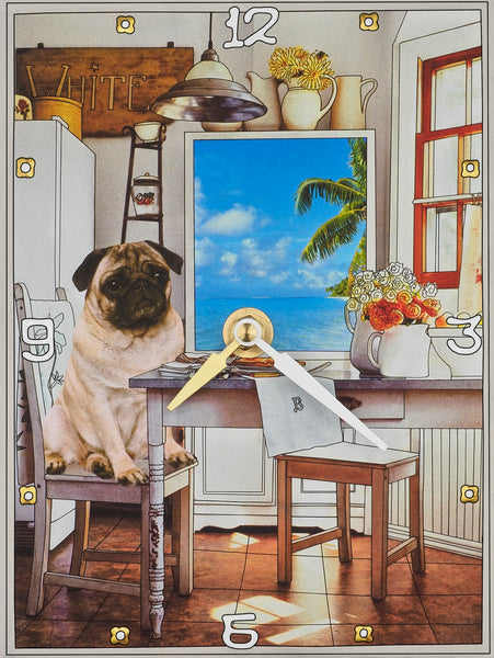 Pug in the Kitchen Collage Clock