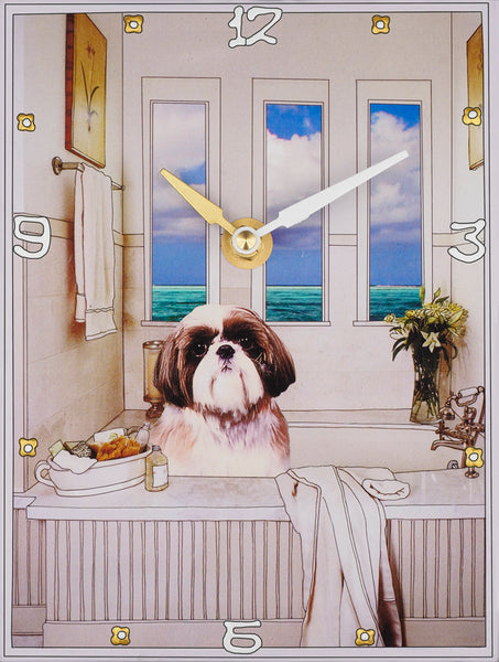 Shih Tzu in the tub Collage Clock