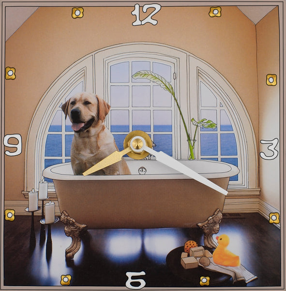 Yellow Lab and a duck, Collage clock