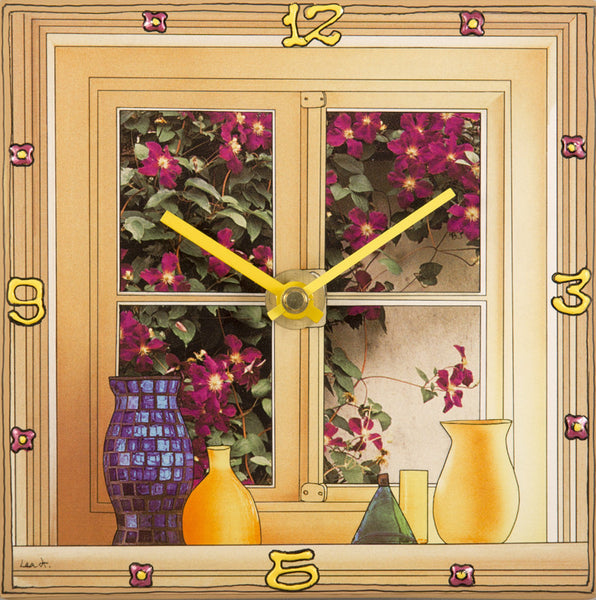 Flowery Window, Collage Clock
