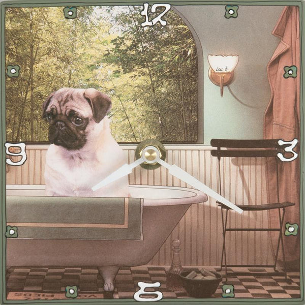 Pug in Tub Collage Clock