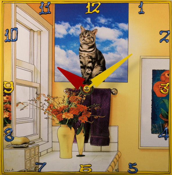 Cat on the Window Sill, Collage clock