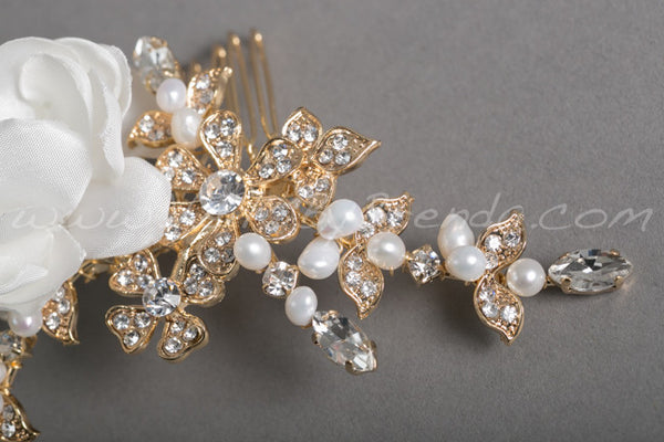 Bridal Flower Hair Comb - Addison