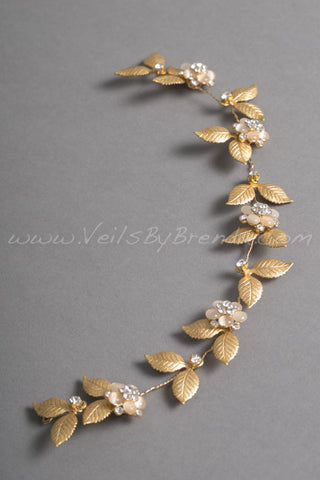 Gold Leaf Bridal Headband - Chloe