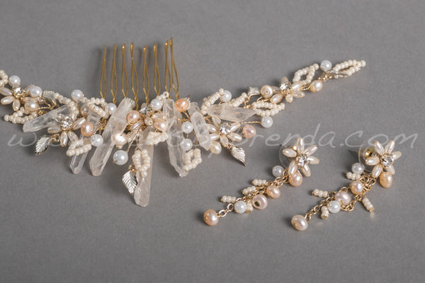 Raw Quartz Bridal Headpiece - Lynn