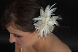 Ivory Lace and Champagne Flower with Feathers and Rhinestone Center - Haven