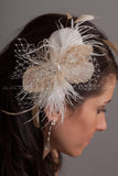 Ivory Feather and Champagne Peacock Eyes Hair Piece - Amber