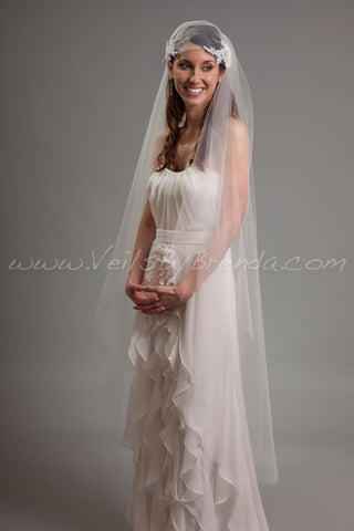 Lace Juliet Cap with Detachable Veil - Angelena
