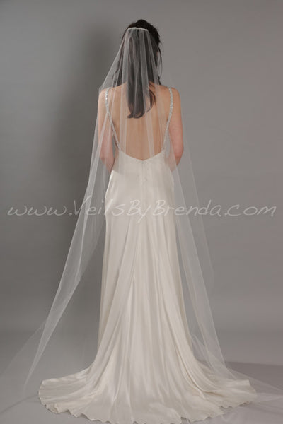 Illusion Tulle Bridal Veil, Sheer Single Layer - Ashley
