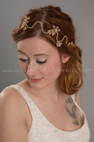 Gold or Silver Rhinestone Headband with Champagne Crystals - Aspen