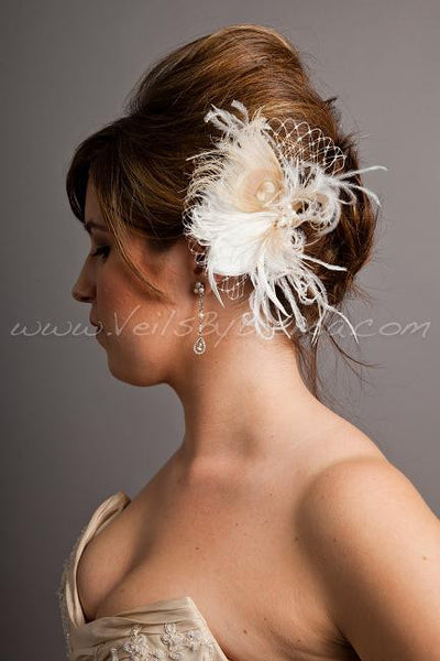 Ivory and Champagne Feathers with Pearls and Golden Shadow Crystals - Juliette